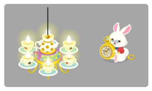 ティーカップシャンデリア・白ウサギの置時計