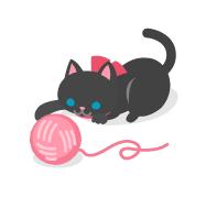 毛糸玉で遊ぶ子猫