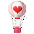 トランプマークの気球 ハート