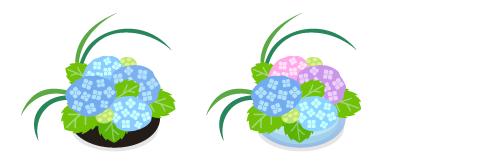 あじさいの盛花黒・あじさいの盛花ガラス