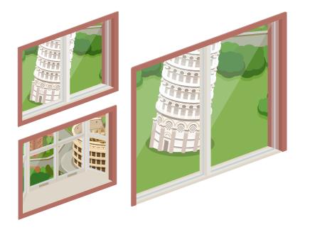イタリアの風景小窓・イタリアの風景出窓・イタリアの風景掃出窓
