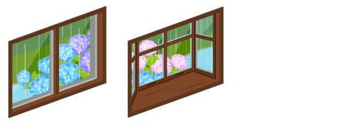 雨の庭が見える小窓・雨の庭が見える出窓