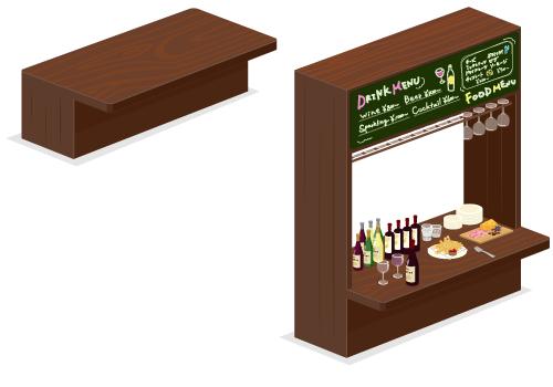 木製バーテーブル・木製バーカウンター黒板付