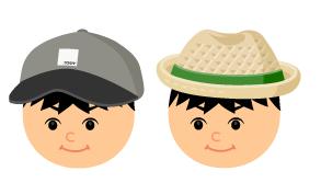 メンズキャップ黒灰・中折れ麦わら帽緑帯