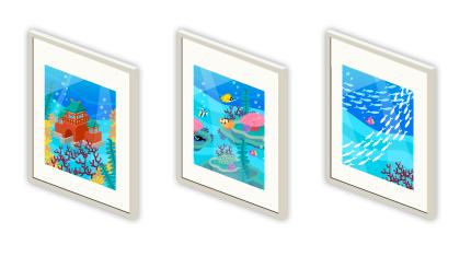 壁掛フレーム竜宮城・壁掛フレーム海底・壁掛フレーム白い魚群
