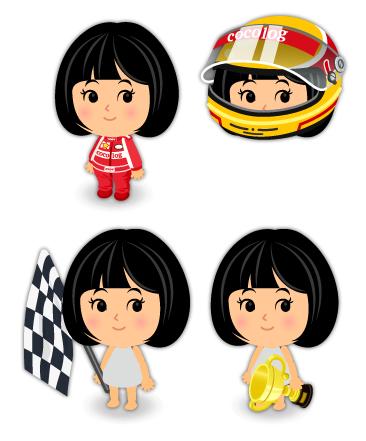 レーシングスーツ・レーシングヘルメット・手持ちチェッカーフラッグ・ゴールドトロフィー