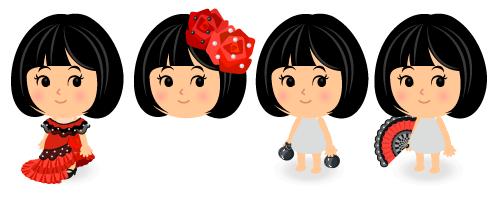 フラメンコ衣装・フラメンコ髪飾り・フラメンコカスタネット・フラメンコ扇