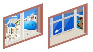 ギリシャの海岸小窓・ギリシャの海岸出窓