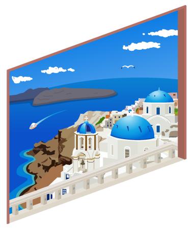 ギリシャの海岸が見える窓大