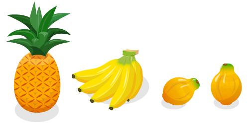 丸ごとパイナップル・丸ごとバナナ房・パパイヤ横・パパイヤ縦