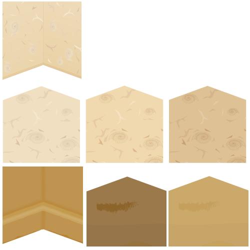 壁紙アンモナイト・アンモナイト床アイボリー・アンモナイト床ミルクティ・アンモナイト床モカ・古代風の土壁・古代風の床チョコタン・古代風の床カーキ