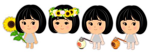 手持ちひまわりの花・ひまわりの花冠・手持ち祭提灯白・手持ち祭提灯橙
