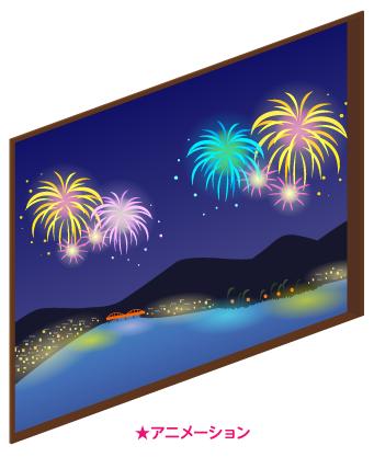 動く湖上大花火の窓大