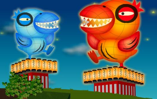 「コイコイがーがーちゃんねぶた 赤」と「コイコイがーがーちゃんねぶた 青」を各3個ずつ置いた設置例