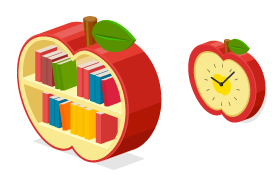 りんごブックシェルフ・りんご壁掛けクロック