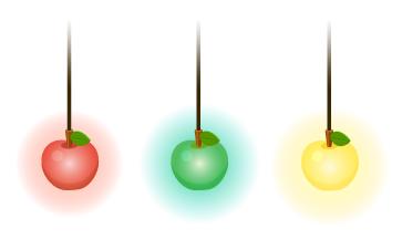 りんごペンダントライト赤・りんごペンダントライト緑・りんごペンダントライト黄