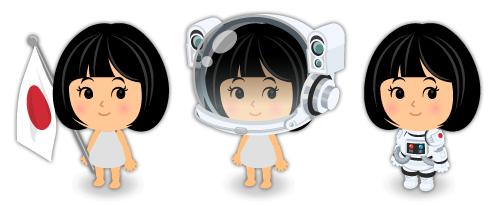 宇宙飛行士の日の丸旗・宇宙服ヘルメット白銀・宇宙服白銀