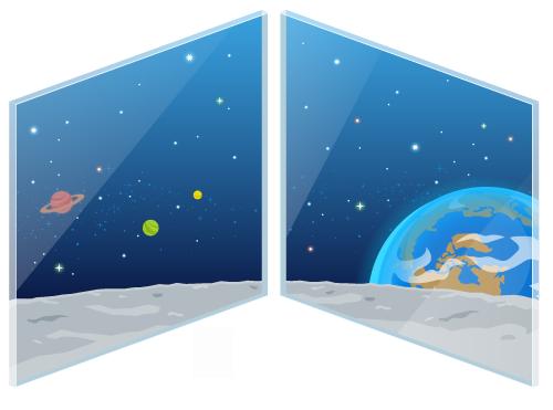 宇宙コロニーの特大窓1・宇宙コロニーの特大窓2