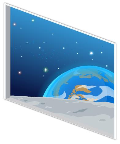 宇宙コロニーの窓大
