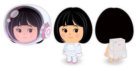 宇宙服白×ピンクセット・宇宙服ヘルメット白ピンク・宇宙服ボンベ白ピンク