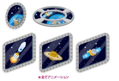 動く宇宙窓丸型・動く宇宙窓フロア・動く宇宙窓ロケット・動く宇宙窓土星・動く宇宙窓人工衛星