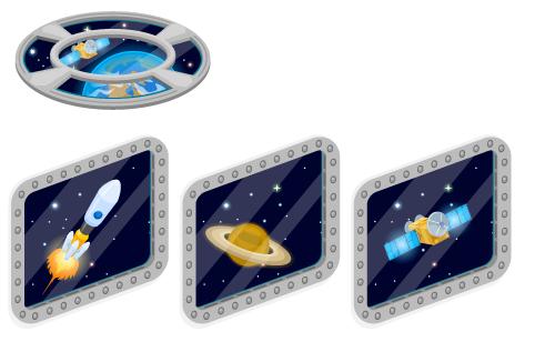 宇宙窓フロア・宇宙窓ロケット・宇宙窓土星・宇宙窓人工衛星