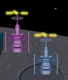 通信アンテナ ブルー/ピンク設置例