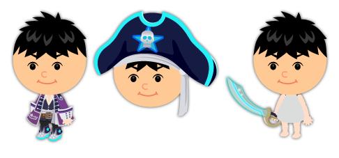宇宙海賊衣装紫・宇宙海賊帽子ブルー・宇宙海賊の剣ブルー