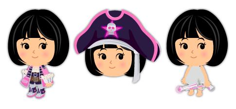 宇宙海賊衣装ピンク・宇宙海賊帽子ピンク・宇宙海賊の拳銃ピンク