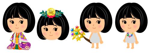 かぐや姫衣装紫桜・かぐや姫冠月兎・蓬莱の玉の枝・龍の首の珠ネックレス