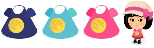 満月Tシャツ(紺)・満月Tシャツ(水色)・満月Tシャツ(ピンク)