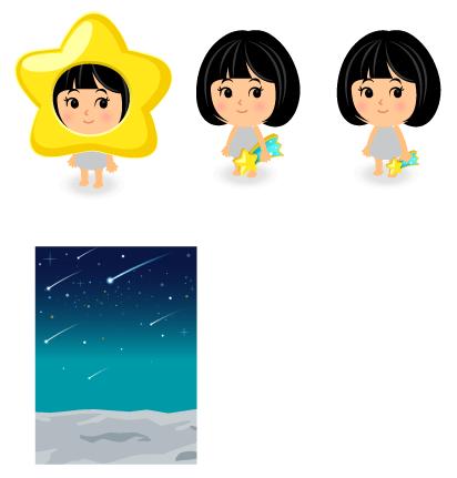 星のかぶりもの・手持ち流れ星大・手持ち流れ星小・背景:流星群