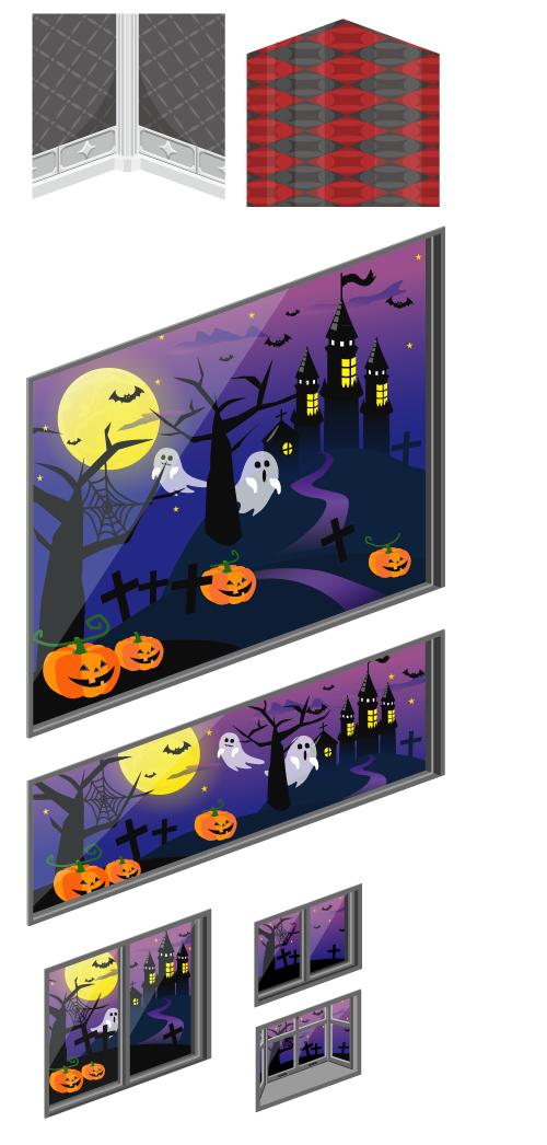 柱つきモノトーン壁紙・赤&グレーチェッカー床・ハロウィンの夜景窓大・ハロウィンの夜景窓小・ハロウィンの夜景掃出窓・ハロウィンの夜景小窓・ハロウィンの夜景出窓