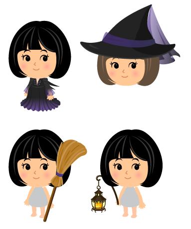 魔女ドレス深紫・魔女ハット深紫・魔女ほうき深紫リボン・手持ちアイアン灯籠