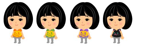 カボチャTシャツオレンジ・カボチャTシャツグリーン・カボチャTシャツパープル・黒猫フェイスTシャツ