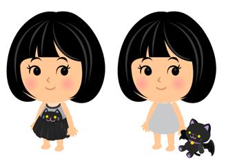 黒猫ワンピ・黒猫ぬいぐるみコウモリ羽