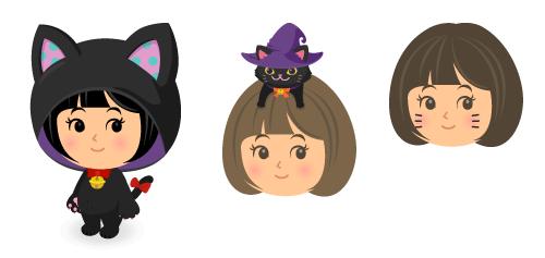 黒猫着ぐるみ水玉・頭のせ黒猫魔女帽・猫ひげ
