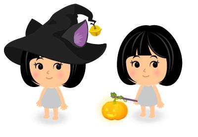 猫耳魔女ハット・手持ちかぼちゃランタン