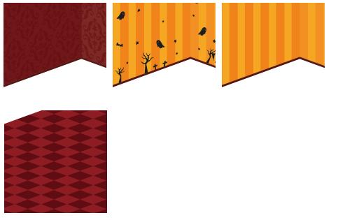 壁紙 ゴシック赤・壁紙 オレンジハロウィン柄・壁紙 オレンジストライプ・床 市松赤