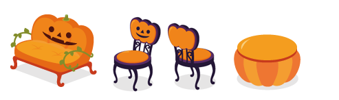かぼちゃソファ・かぼちゃチェア紫・かぼちゃチェア紫:背・かぼちゃ丸テーブル