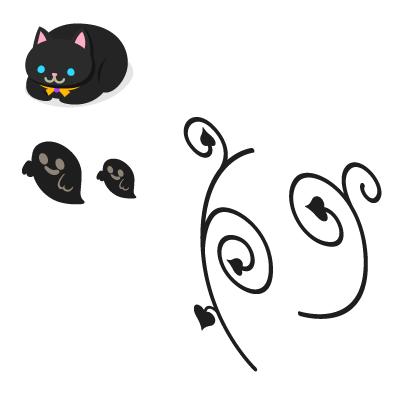 まるまる黒猫ぬいぐるみ・ウォールデコゴースト大・ウォールデコゴースト小・ウォールデコ枝大・ウォールデコ枝小