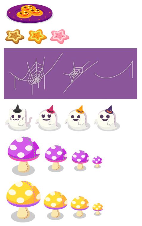 かぼちゃクッキー皿紫・星形クッキーココア・星形クッキーパンプキン・星形クッキーいちご・クモの巣七角大・クモの巣五角大・クモの糸大・ゴーストぐるみ猫・ゴーストぐるみハート・ゴーストぐるみにんまり・ゴーストぐるみスマイル・キノコぬいぐるみ紫特大・キノコぬいぐるみ紫大・キノコぬいぐるみ紫中・キノコぬいぐるみ紫小・キノコぬいぐるみ黄特大・キノコぬいぐるみ黄大・キノコぬいぐるみ黄中・キノコぬいぐるみ黄小