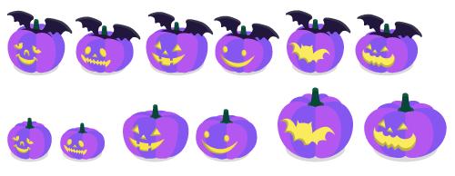 かぼちゃコウモリ紫A・かぼちゃコウモリ紫B・かぼちゃコウモリ紫C・かぼちゃコウモリ紫D・かぼちゃコウモリ紫E・かぼちゃコウモリ紫F・かぼちゃ紫A・かぼちゃ紫B・かぼちゃ紫C・かぼちゃ紫D・かぼちゃ紫E・かぼちゃ紫F