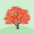 光るカエデの木A 赤