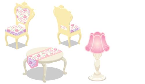 ローズ布張チェアピンク・ローズ布張チェアピンク背・ローズ猫足テーブルピンク・ローズフロアランプピンク