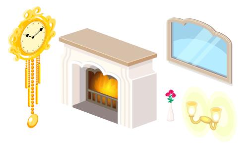 壁掛け時計ゴールド・暖炉ホワイト・ウォールミラーワイド・ミニバラ赤花びん・ウォールランプ二灯