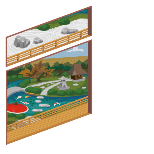 日本庭園の窓 小・コイがいる日本庭園の窓 大