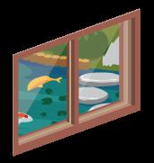 コイがいる日本庭園の小窓