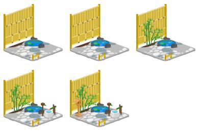 ミニ庭園正月風Lv1・ミニ庭園正月風Lv2・ミニ庭園正月風Lv3・ミニ庭園正月風Lv4・ミニ庭園正月風Lv最大