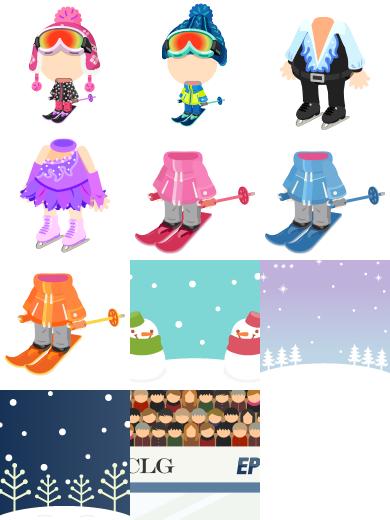 スキー服セット ピンク・スキー服セット ブルー・男子フィギュア衣装セット・女子フィギュア衣装セット・スキーウェアセット ピンク・スキーウェアセット ネイビー・スキーウェアセット オレンジ・背景:雪だるま空色・背景:雪の野原藤色・背景:雪の林紺・背景:スケート場